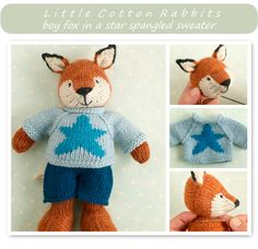 This pattern is written in English only. This listing is for an extensive PDF file which contains full instructions for knitting and finishing off a little boy fox with a star sweater and shorts. Once paid for it is available for you to instantly download. The finished fox is approx...