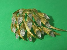 Clear Rhinestone Brass Floral Branch Pin Vintage Trendy Style Elegant Jewelry Piece by HipTrends2015 on Etsy