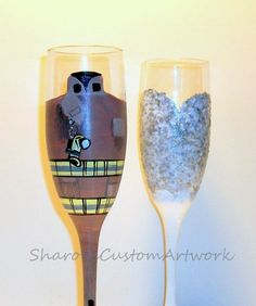 Fire Fighter Bunker Gear and Wedding Dress Hand Painted Champagne Flutes Set of 2 - 6 oz. Toasting Flutes on Etsy, $50.00