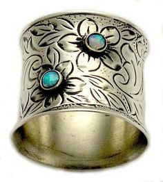 Sterling silver and yellow gold wide woodland ring with blue opal gemstones, October birthstone - Spring time.