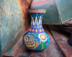 Medium-Small Colorful Pottery Vase from Guerrero Mexico, Ceramic Folk Art, Mexican Southwest Decor 90 Day Plan, Southwest Decor, Hacienda Style, Spanish Style, Pottery Vase, North Africa, Different Patterns, Pink Flowers, Folk Art