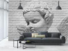 Фотообои на стену «Ангел на каменной стене» WG 00160 Angel brick wall в интерьере гостиной
