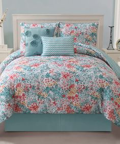Take a look at this Turquoise Kayla Reversible Comforter Set by Victoria Classics on #zulily today!