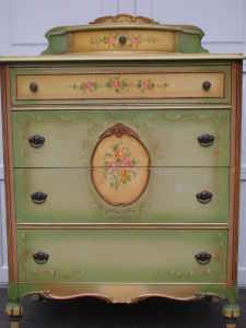Lovely old piece. I wonder if the drawer on top holds your jewelry?  LOVE THIS ONE.  B