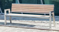Public bench / contemporary / in wood / stainless steel QUATER V2A Gem. Westeifel Werke GmbH