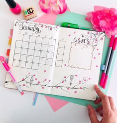 Bullet journal monthly calendar, flower drawings, monthly goal tracker. @mybulletlove
