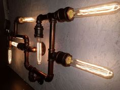 Lamp Retro Iron Edison Industrial Steampunk Vintage Pipe Lights Rustic Wall Bulb #ZiziLights #VintageRetro