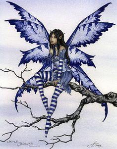 Fairy Art by Amy Brown - Four Seasons - Winter Secrets Gothic Fantasy Art, Gothic Fairy, Beautiful Fantasy Art, Fantasy Dragon, Fantasy Fairies, Elves Fantasy, Amy Brown Fairies, Dark Fairies, Dragons