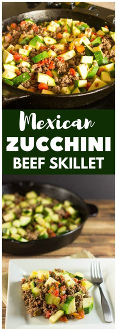 Mexican zucchini and beef skillet food recipes Taco Casserole, Mexican Beef Casserole, Chili Relleno Casserole, Tostadas, Mexican Food Recipes, Healthy Recipes, Easy Recipes, Soup Recipes, Burger Recipes