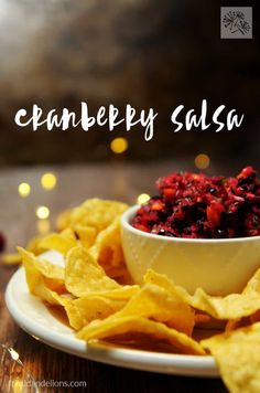This Cranberry Salsa is perfect for bringing to holiday parties! It takes less than 5 minutes to make, and will be the hit of the buffet table! Healthy Vegan Snacks, Delicious Vegan Recipes, Snack Recipes, Vegan Food, Amazing Recipes, Healthy Sauces, Veggie Snacks, Vegan Sauces, Raw Recipes