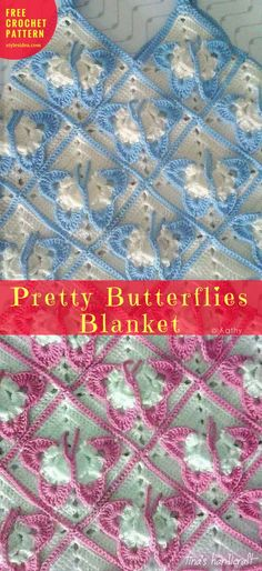 Pretty Butterflies Blanket #FreeCrochetPattern #CrochetSquare for Blanket | size: any | US Terms Level: beginner yarn: not acrylic - any Hook: 5.0 mm (H) Author: Kathy #crochetbutterfly