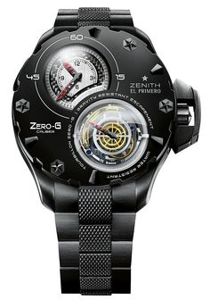 Zenith is rolling out their new El Primero Zero-G Multi-Dimensional Tourbillon at Baselworld 2008 in April. The luxorious all-black Zero-G is coated in a special PVD (Physical Vapour Deposition) solution, which makes the timepiece impervious to the. Men's Watches, Dream Watches, Luxury Watches, Cool Watches, Fashion Watches, Watches For Men, Fancy Watches, Unique Watches, G Watch