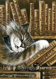 Irina Garmashova-Cawton - Artiste Peintre Animalier - Miniatures ACEO - Chat endormi sur une pile de livres