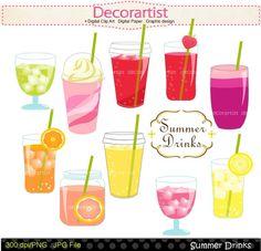 Digital clip art summer drinks  juice clip artGlass by decorartist, $4.50