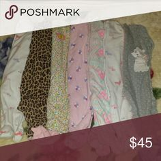 ~Baby girl 6 month Pajama Bundle!~ 7 pairs of soft excellent condition footie pajamas Carter's Pajamas