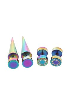 Click Image Above To Buy: Black Rainbow Metal Bling Faux Taper And Plug 4 Pack Tapers And Plugs, Ear Tapers, Rainbow Metal, Steampunk Mask, Fake Gauges, Cute Earrings, Tribal Earrings, Polka Dot Nails, Body Jewellery