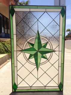 Beautiful Compass Rose Stained GLass Window (We do custom work, email for a quick quote)