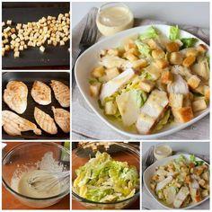 """Салат """"Цезарь"""" с курицей.  Вам потребуется:  ½ небольшого багета – можно вчерашнего  3 ст.л. оливкового масла  2 куриных грудки  1 большой кочан салата романо  немного пармезана, тонко нарезанного овощечисткой или мелко натертого  Для заправки:  2 зубчика чеснока  2 крупных куриных желтка  1 ст.л. дижонской горчицы  ½ ч.л. вустерского соуса  2 ст.л. лимонного сока  3 ст.л. оливкового масла  соль и молотый перец по вкусу  Как готовить:  1. Багет нарезаем на кубики со стороной 1,5 см. На…"""