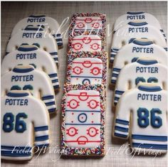 "Julia Wingfield on Instagram: ""Hockey rinks & jerseys for #86 Wesley Potter! Happy Birthday! #MeramecSharks #Hockey #HockeyJerseys #HockeyCookies #FieldOfWings…"""