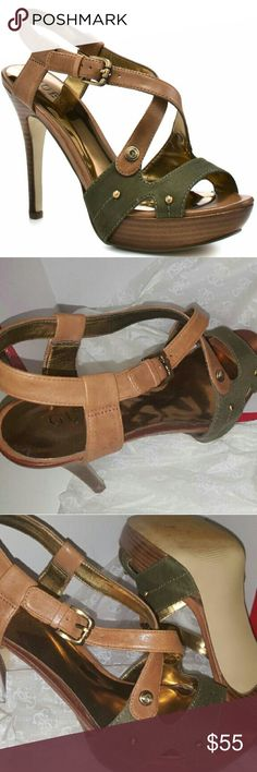 "uGuess green multi leather (Gwbelloma) Olive green multi-leather Guess heels.....Adjustable buckle ankle strap with Guess ""G"" logo detail.....Gold studs placed....4.5 in. heels & 1 in. platform.... Gently worn...... Awesome condition! G by Guess Shoes Heels"