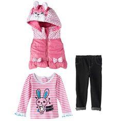 Nannette Polka-Dot Bunny Puffer Vest Set - Baby Girl