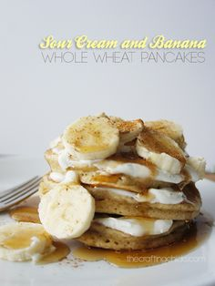 Sour Cream and Banana Whole Wheat Pancakes