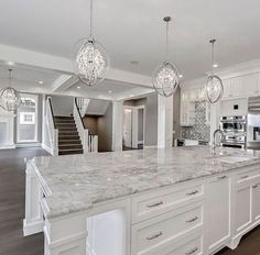 24 Beautiful White Kitchen Design Ideas And Decor. If you are looking for White Kitchen Design Ideas And Decor, You come to the right place. Below are the White Kitchen Design Ideas And Decor. Home Decor Kitchen, Kitchen Interior, Home Interior Design, White House Interior, White Kitchen Decor, Luxury Kitchen Design, Beautiful Houses Interior, Grey Interior Paint, All White Kitchen