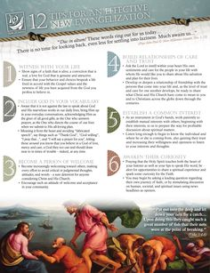 12 Tips  on new evangelization in this YOF.  this page is #'s 1-6
