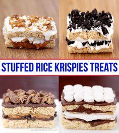 These are crazy, it's like a delicious dessert sandwich! so many possibilities! Best Dessert Recipes, Fun Desserts, Sweet Recipes, Delicious Desserts, Breakfast Dessert, Dessert Bars, Rice Krispie Treats, Rice Krispies, Yummy Treats