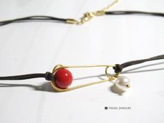Neckssorizing Choker, Red Coral Choker, Safety Pin Choker, Macrame Cord Choker, Personalized Pearl Choker by YaesilJewelry on Etsy