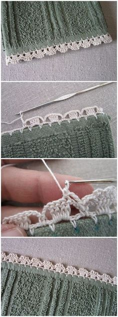 If you looking for a great border for either your crochet or knitting project, check this interesting pattern out. When you see the tutorial you will see that you will use both the knitting needle and crochet hook to work on the the wavy border. Crochet Edging Patterns, Crochet Lace Edging, Crochet Borders, Crochet Trim, Love Crochet, Knit Crochet, Lace Doilies, Crochet Doilies, Crochet Edgings