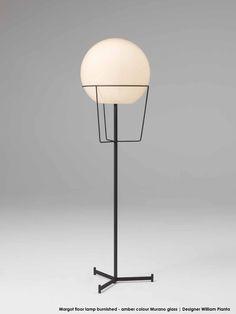 Margot Floor Lamp Burnished   Amber Colour Murano Glass | Designer William  Pianta