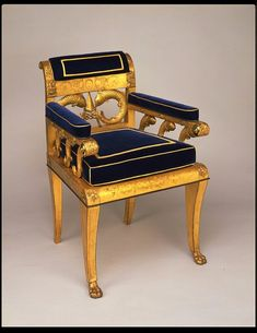 A carved-wood armchair with gilded brass and gilded gesso mounts, likely designed by Robert Home for the first king of Oudh, circa 1820. Later owned by the 5th Earl Amherst of Arracan, it is now in the collection of the Victoria and Albert Museum.