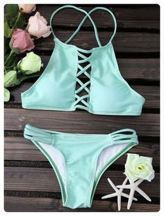 Spaghetti Straps Lace Up Solid Color (Green)