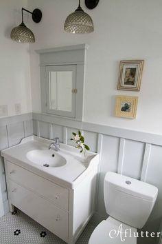 Bathroom Remodel: IKEA vanity, medicine cabinet, board and batten. Bathroom Remodel: IKEA vanity, me Bungalow Bathroom, Craftsman Bathroom, Condo Bathroom, Bathroom Showers, Ikea Bathroom Vanity, Paint Bathroom, Tiny Bathrooms, Wainscoting Nursery, Wainscoting Hallway