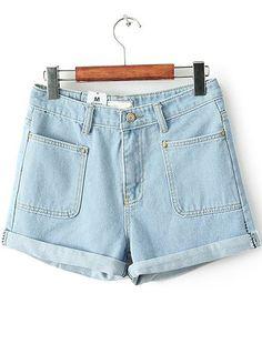 Blue Flange Pockets Denim Shorts - Sheinside.com