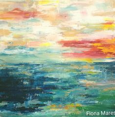 Color intensive abstract art, Painting by FIONA MARES Artist. Deep blue sea in all blue, turquoise and green tones with delightful sky in soft blue, grey, gold, pink and yellow. Clouds, sea, seascape, sun, sky https://www.facebook.com/FionaMaresGallery/ #abstractart