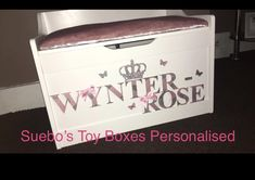 Girls silver and pink Glitter box. Personalised Toy Box, Toy Boxes, Pink Glitter, Toy Chest, Storage Chest, Toys, Girls, Silver, Home Decor