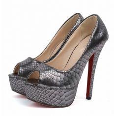 Snake Look Peep Toe Shoes (Black)