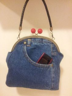 Blue Denim purse hand bag from recycled jeans clutch por KassiAlma