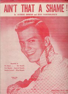 Pat Boone Ain't That a Shame Sheet Music Dot Records Old Sheet Music, Song Sheet, Vintage Sheet Music, Music Covers, Album Covers, Pat Boone, Country Music Singers, Photos Tumblr, Arts And Entertainment