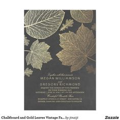 Chalkboard and Gold Leaves Vintage Fall Wedding Card Chalkboard and gold (regular ink) leaves vintage fall wedding invitations. -- All design elements created by Jinaiji