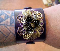 Steampunk Leather Bracelet C42  Wristband  by DesignsByFriston, $50.00