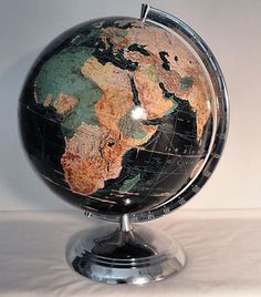 "Antique 1940s WC Weber Costello Peerless 12"" Black Terrestrial World Globe Map"