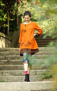 Hey, I found this really awesome Etsy listing at https://www.etsy.com/listing/156890129/womens-blouse-long-sleeve-orange-long