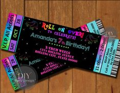 Welcome to DIY Party Design!   This super cool Roller Skate Ticket Birthday Invitation is the perfect start to an awesome party!  This listing is