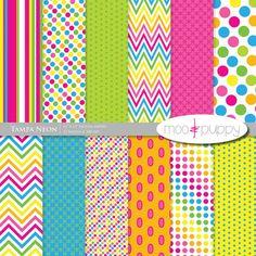 Digital Scrapbook Paper Pack  --  Tampa Neon -- INSTANT DOWNLOAD www.mooandpuppy.com