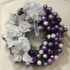 Purple and White Christmas Wreath Holiday Decor Front Door Decor Christmas Abbott, Christmas Holidays, Christmas Crafts, Merry Christmas, Christmas Ornaments, Winter Holidays, Christmas Tables, Christmas Island, Coastal Christmas