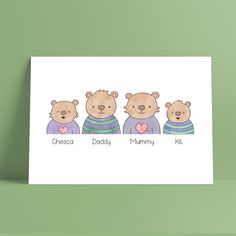 Items similar to Bear Family Personalised Print