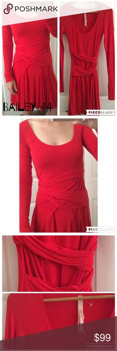 Bailey 44 Jersey Dress Beautiful and comfy midi dress with draped/braided waist and long sleeves. Never worn. It's NWOT. Lady in red. It's a beautiful red tone which catches your eye. Anthropologie Dresses Midi